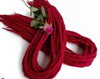 "Wool Dreadlocks Dreads "" Red Rose "" DE"
