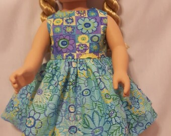 "Aqua and purple floral doll dress and matching hair clip. Made to fit American Girl or other similar 18"" dolls"