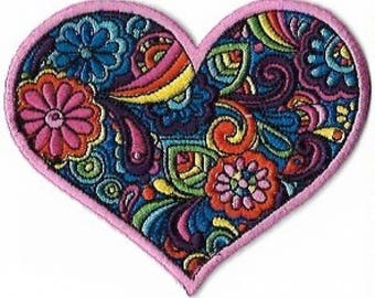 Love Paisley Heart Embroidered Patch Iron On / Applique, Sixties, Summer of Love, Rainbows, Flowers