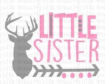 SALE- Deer head little sister silhouette SVG, DXF, Eps, png Files for Cutting Machines Cameo or Cricut - new big brother svg - deer svg cut