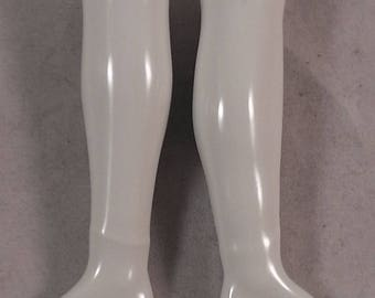 """ant. german porcelain doll legs, lower legs for leatherbody,cloth,victorian dolls, 3.4"""" x 0.86"""""""