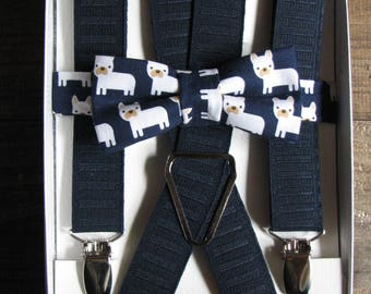 Boy Suspenders and Bow Tie - Navy Frenchie Bow tie