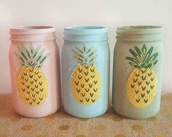 Pineapple Mason Jars, Pineapple Mason Jar Vases, Pineapple Decor, Pineapple Mason Jar Decor, Fruit Jars, Mason Jar Decor, Painted Mason Jars