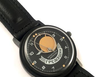 "Rare Vintage men's watch ""ROCKET-COPERNIC""(""Raketa-Kopernik"").Sun&Moon hands,Mechanical Russian watch, comes with NEW leather band."
