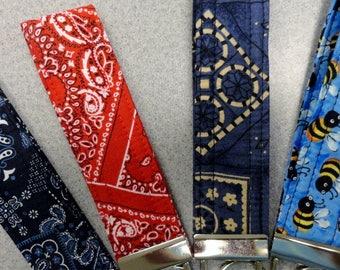 Fabric Key Fobs, Key Fobs, Luggage Tags, Camera Strap, Wristlet Key Fob, Flash Drive Fob, Bees, Blue Bandana, Red Bandana, Bandana Key Fobs