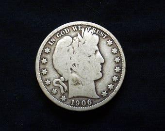 1906 D Barber Half  - Very Good -  1906   *TD0920A0*