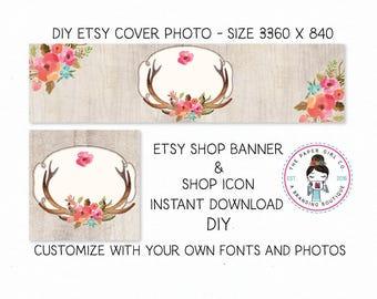 DIY etsy cover set etsy shop set premade DIY etsy set DIY etsy branding set deer antler set boho etsy set boho chic set Instant Download