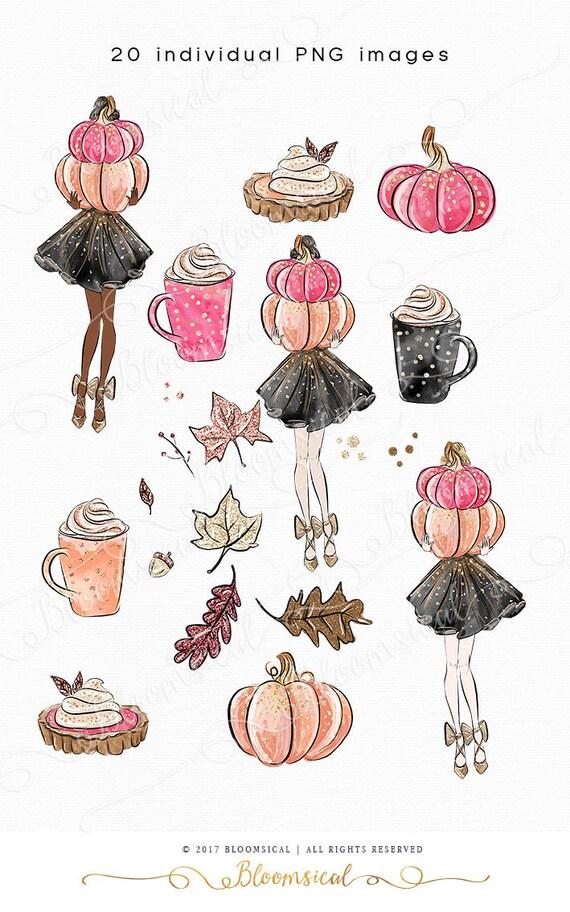 Pumpkin clip art hand drawn autumn leaves fashion