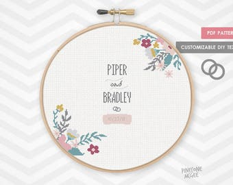FLORAL WEDDING RECORD counted cross stitch pattern, diy customizable pdf