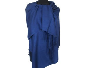 Blue Pashmina, Christmas Gifts for Women, Pashmina Scarf, Fashion Shawl, Blue Long Pashmina, Gift for Girlfriend, Plain Pashmina, Fall Scarf