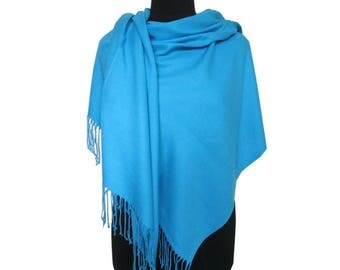 Soft Blue Scarf, Christmas Gifts for Women, Pashmina Scarf, Blue Long Pashmina, Gift for Girlfriend, Plain Pashmina, Fall Scarf