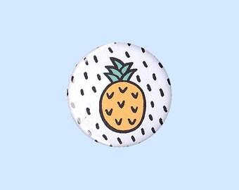 Pineapple Badge - pineapple pin, pineapple illustration pin, trendy pineapple design, tropical fruit pin