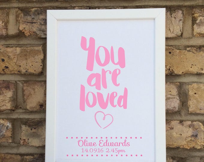 Personalised you are loved print | quote | Wall prints | Wall decor | Home decor | Print only | Typography