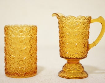 Amber Glass Pitcher and Glass Set