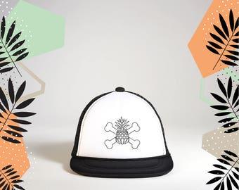 Pineapple Cross Bones Baby Snapback Hat   Baby Trucker Hat   Baby Snapback  Trucker Hat   Kids Hat   Kids Trucker Hat