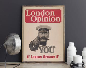 London Opinion Cover| Vintage Magazine| Propaganda Poster| WW1| World War 1 Poster| WWi Print| Poster Vintage| Poster Art| Wall Art| VMA029