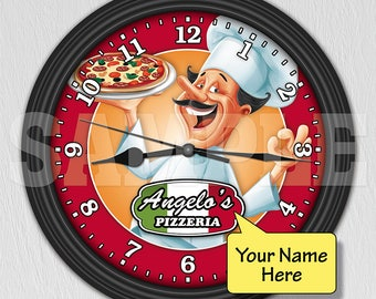 Pizza Parlor Pizzeria Italian Restaurant Cafe Personalized Wall Clock ITEM#088