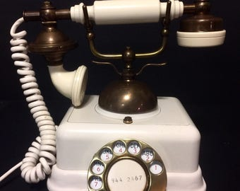 Vintage French Victorian Rotary Phone from the 60's Brass and Off White for the Country Home, Hotel Lobby or Cottage