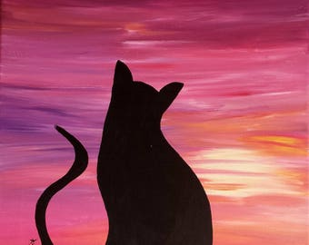 painting acrylic cat painting pink purple sunset