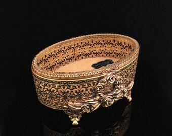Vintage Jewelry Box Stylebuilt Gold Filigree Jewelry Box Antique Jewelry Box Ormolu Jewelry Box Tufted Jewelry Casket Jewelry Holder