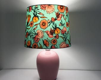 Hummingbird Table Lamp | Ceramic lamp base | Fabric Lampshade