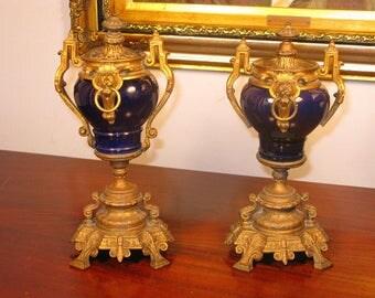 Antique Victorian French Belle Epoch Pair Of Blue Enamel Gilt Bronze Ormolu Urns C1880