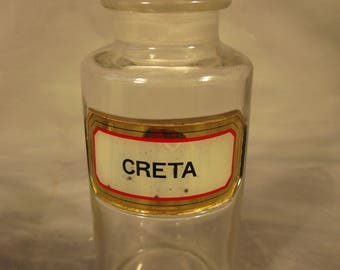 Antique Victorian Vintage English Gilt Lable Clear Glass CRETA Apothecary Chemist Bottle With Stopper Circa 1900