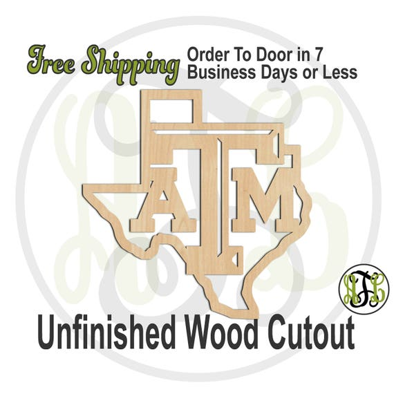 State of Texas with T A and M- 60168- Sports Cutout, unfinished, wood cutout, wood craft, laser cut, Free Ship, University, wooden, wall art