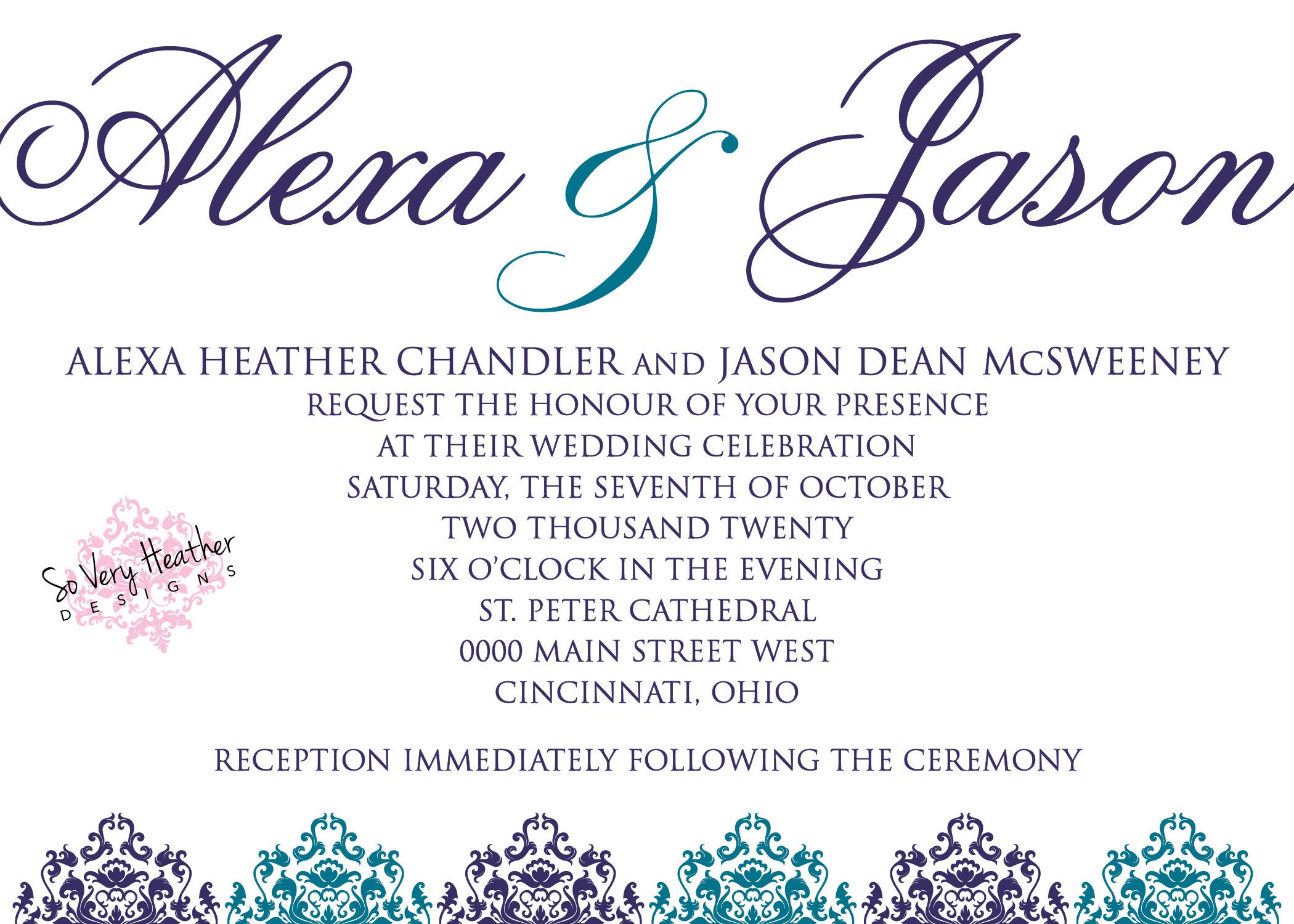 Purple and Teal Wedding Invitation, 25th Wedding Anniversary, Vow ...