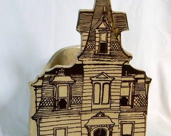 Lopez Painted Lady Planter - Bennington Vermont Pottery - Vintage Pot by Lopez - Victorian House Planter - Vintage Clay Planter