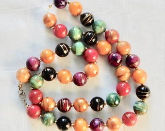 Colorful Beads on String Retro Necklace - 1960's Multi-Colored and Gold Striped Bead Necklace - Vintage Plastic Necklace from Japan or USA