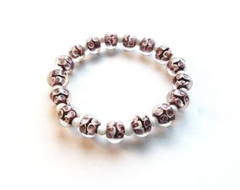 Handmade Purple Lampwork Glass Beads and White Glass Cats Eye Beads Stretch Bracelet, Wedding, Bride, Boho, Bohemian