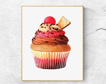 Pink Cupcake Fine Art Print, Cupcake Watercolor Art Print, Poster Illustration, Food Illustration, Kitchen Decor, Wall Art, Home Decor