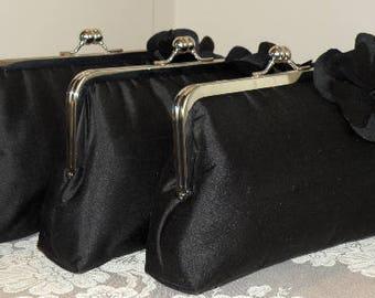 Silk Dupioni Clutch/Purse/Bag..Rosette..Bridesmaid Gift..Black/White/Ivory/Red/Silver..Hands Free Wrap..Bridal/Wedding..Free Monogram