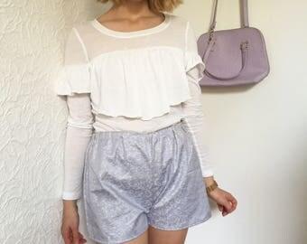 Handmade lilac & silver metallic brocade shorts
