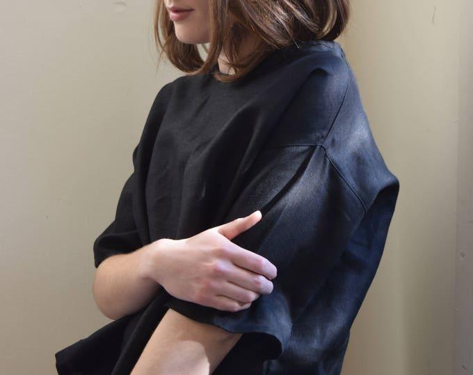 Tilda Black Linen T-shirt  |  Print Optional