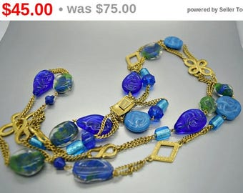 Castlecliff Cobalt and Teal Art Glass Necklace N5076