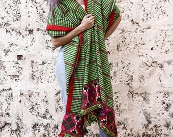 Antique Tribal Blanket Shawl Tribal Home Decor Vintage Textile Blanket Handwoven Wool Blanket Colourful Patu Blanket