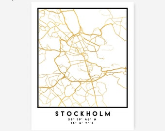 Stockholm Map Coordinates Print - Sweden City Street Map Art Poster, Gold Stockholm Map Print, Stockholm Sweden Coordinates Poster Print Map