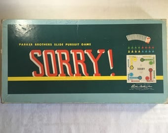 SORRY! Board Game, Vintage 1958 Parker Brothers  Ages 6 and Up, 2 to 4 Players, Classic SORRY! Board Game, Game Night