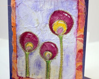 Dandelions hand made original painting on greeting card