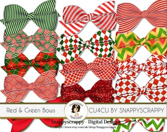 Bow Clipart, Digital Scrapbooking, Red and Green Bow Scrap Kit Collection,  CU4CU
