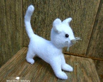 Small stuffed cat, hand sewn felt kitten, white felt cat, soft toy, gift animal, felt stuffed animal