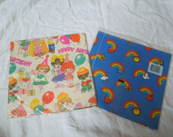 70s Birthday and Rainbow Wrapping Paper Lot