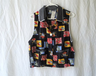 80s Fruit and Polka Dot Collar Button Up Tank Top NWT