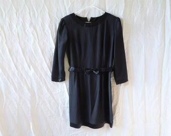90s Little Black Dress Bow Detail Button Up Back