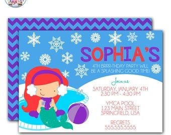 Mermaid Winter Pool Party Invitation, Winter Pool Party Birthday Invite, Mermaid Pool Party