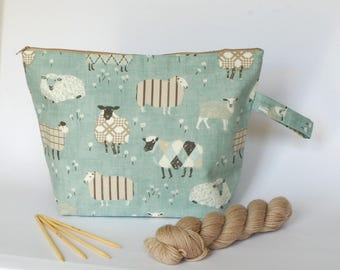 Large knitting project bag, sheep project bag; extra large project bag, sweater bag, crochet bag, yarn bag, make up bag,