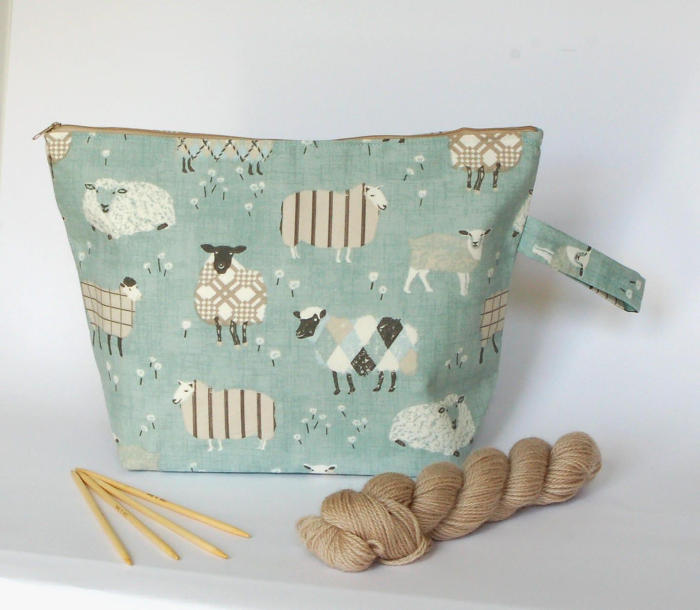 Extra Large Knitting Needles Uk : Large knitting project bag sheep extra