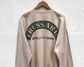 20% OFF Vintage Trussardi Junior Sweatshirt / Trussardi Sweater / Trussardi Crewneck / Trussardi Big Logo / Spell Out